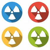 picture of nuke  - Set of 4 isolated flat colorful buttons  - JPG