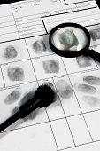 foto of fingerprint  - Real human fingerprint on police fingerprint card - JPG
