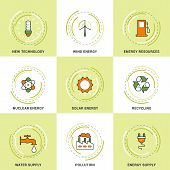 pic of water pollution  - Modern Vector Ecology Line Icons Set - JPG