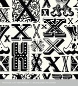 pic of letter x  - Seamless vintage pattern of the letter X  - JPG