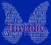 stock photo of stiff  - Thyroid butterfly shaped word cloud on a blue background - JPG