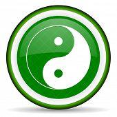 picture of ying-yang  - ying yang green icon   - JPG