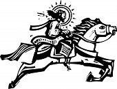 stock photo of leaping  - Woodcut Style image of Jesus Christ riding a leaping white horse - JPG