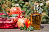 foto of vinegar  - Apple cider vinegar with a fresh apple - JPG