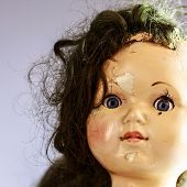 image of scary face  - head of beatiful scary doll like from horror movie  - JPG