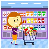pic of grocery cart  - A Woman - JPG