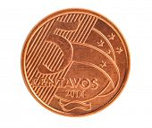 stock photo of brazilian money  - Five Brazilian centavos coin isolated - JPG