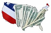 stock photo of usa map  - USA Stars and Stripes flag and money within outline of USA map on white background for financial or tax day concept - JPG