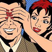 foto of flirt  - Flirt woman who is closed the man eyes comics retro style pop art - JPG
