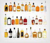 stock photo of liquor bottle  - vector illustration in form of Liquor Bottles in low poly design - JPG