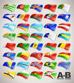 stock photo of flags world  - World Flags Vector Icon Collection from A to B - JPG
