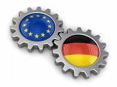 pic of snatch  - German and European union flags on a gears - JPG