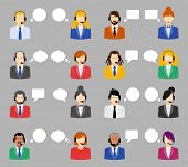 foto of avatar  - Male and female call center avatar icons with a faceless man and woman wearing headsets with colorful speech bubbles conceptual of client services and communication - JPG