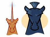 foto of unicorn  - Illustrations of horse and unicorn mascot heads - JPG