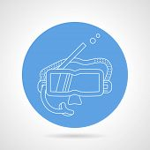stock photo of rubber mask  - Blue round vector icon with white line snorkeling mask on gray background - JPG