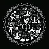 foto of pranayama  - Vector illustration of yoga lifestyle - JPG