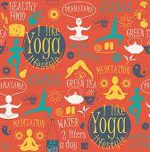 stock photo of pranayama  - Yoga lifestyle seamless pattern - JPG