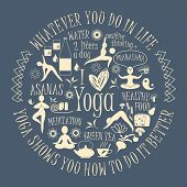 picture of yoga silhouette  - Yoga background with yogic quote - JPG