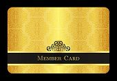 stock photo of exclusive  - Exclusive golden member card with classic vintage pattern - JPG