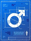 stock photo of libido  - Stylized drafting of man sign on blueprint paper - JPG