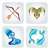 picture of pisces  - Vector illustration of astrology symbols: 