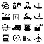picture of shipping receiving  - set of 16 shipping and logistic icons - JPG