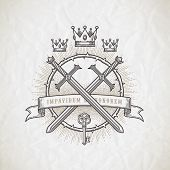 picture of occult  - Abstract tattoo style line art emblem with heraldic and knightly elements  - JPG