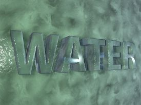 image of water shortage  - Water word written over wall of water 3d render - JPG