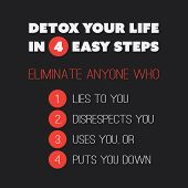 Постер, плакат: Inspirational quote Detox your life in 4 easy steps Eliminate anyone who 1 Lies to you 2 Disre
