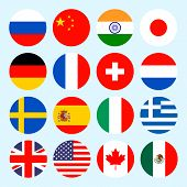 Circle flags vector of the world. Flags icons in flat style. poster