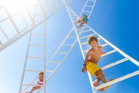 pic of climb up  - young happy kids  - JPG