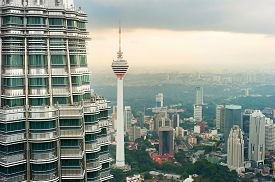 image of petronas twin towers  - View from Petronas Twin Tower to Kuala Lumpur. Menara TV tower in center
