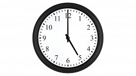 picture of analog clock  - Realistic 3D render of a wall clock set at 5 o - JPG
