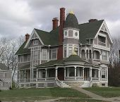 foto of victorian houses  - Steel gray and white Victorian House - JPG
