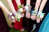 Girls holding arms out with corsage flowers for prom poster