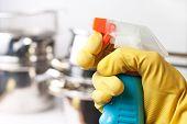 Постер, плакат: Рука в защитные перчатки держа спрей Очистка концепция кухни