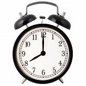 stock photo of tick tock  - Old Alarm Clock isolated on white in black and white - JPG