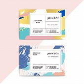 Trendy Abstract Business Card Templates. Modern Luxury Beauty Salon Or Cosmetic Shop Layout With Art poster
