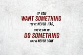 Inspiration Quote : If You Want Something Youve Never Had,youve Got To Do Something You Never Done poster