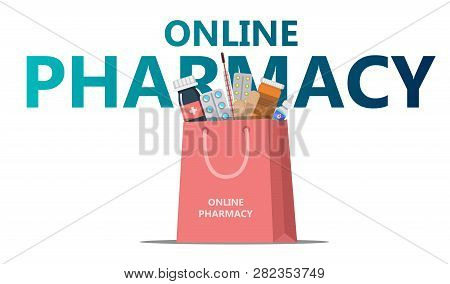 Online Drugstore Concept Shopping Bag