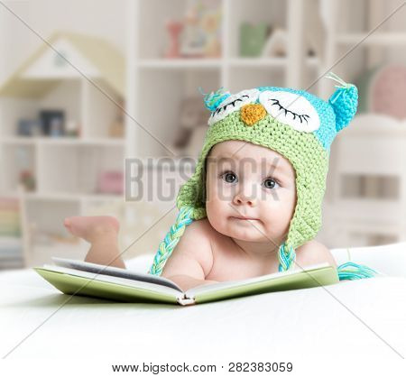 Baby In Funny Owl Knitted