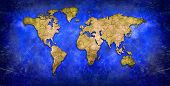 Creative world map. Blue and yellow map  poster