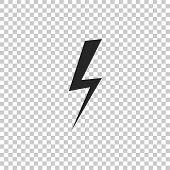 Lightning Bolt Icon Isolated On Transparent Background. Flash Icon. Charge Flash Icon. Thunder Bolt. poster