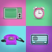 3d Rendering Of Four Contrast Background Squares With A Retro Phone, A Radio, A Tv Set And An Alarm  poster
