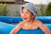 Cheerful Child In The Pool On Back Yard. Smiling Boy With Water Drops Around Spending Time In The Po poster