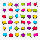 Big Set Hand Drawn Colored Blank Effects Template Comic Speech Bubbles Halftone Dot Vector Backgroun poster