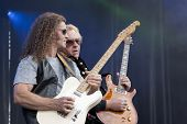 CLARK, NJ - SEPT 17: Guitar players Markus Wolfe and Howard Leese perform with The Paul Rodgers Band