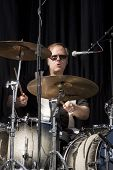 CLARK, NJ - SEPT 18: Drummer Dennis Diken of the band The Smithereens performs at the Union County M