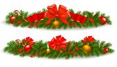stock photo of polly  - Two holiday christmas garlands - JPG