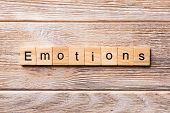 Emotions Word Written On Wood Block. Emotions Text On Wooden Table For Your Desing, Concept poster